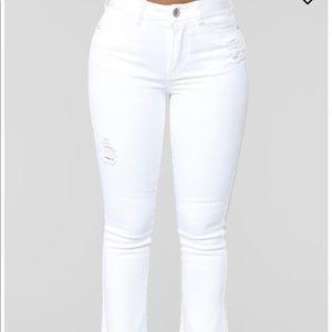 High Rise White Jeans